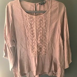 Brown Flowy Blouse with Lace Details